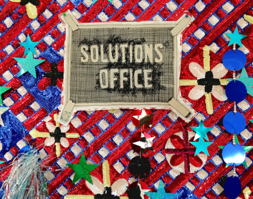 Daniel González, Solution's office, 2018, hand-sewn sequins and mixed media on canvas, 130 x 200 cm, detail