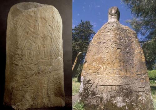 Lagundo: (c) South Tyrol Museum of Archaeology; Tiya: (c) TARA www.africanrockart.org: Menhir, Algund (Südtirol, Italien) - Menhir (Tiya, Äthiopien)