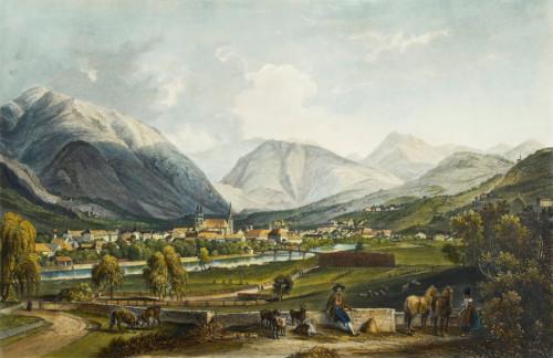 Hofburg Brixen Bressanone: Ansicht von Brixen, Aquatinta von Friedrich Salathè, um 1835