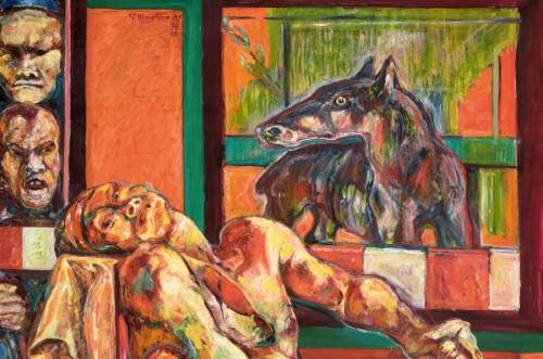 © Galerie Maier, Innsbruck; Foto: Gerhard Watzek: Fitz Martinz, Marat, Öl auf Leinen, 1989-1996